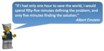 If I had only one hour to save the world, I would spend fifty-five minutes defining the problem, and only five minutes finding the solution