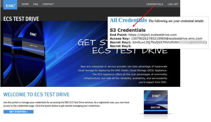 ECS Test drive credentials