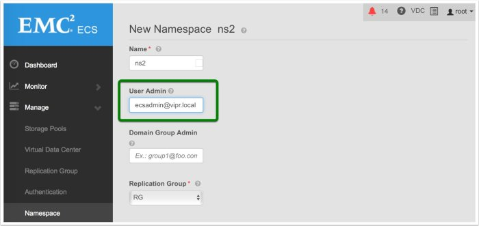 Assign the user as Namespace administrator