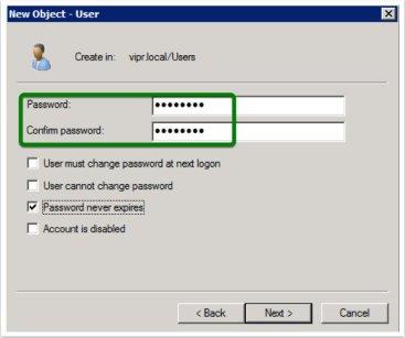 Specify a password