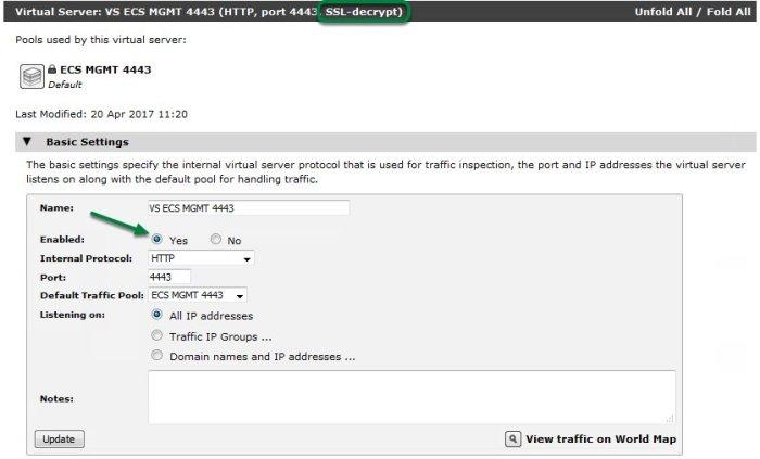 ECS API via vTM-15
