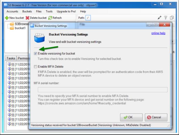 ECS bucket S3 versioning via GUI tools